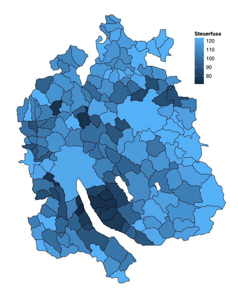 Steuerfüsse der Zürcher Gemeinde 2013. (Daten: Statistisches Amt des Kantons Zürich)